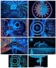 8 UV Blacklight Fluorescent & Glow In The Dark Art Posters Value Set