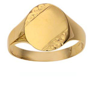 9ct Gold 14x12mm gents engraved oval Signet ring Size U