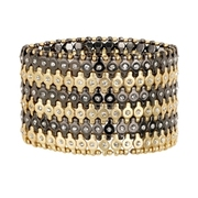 Black/Gold stretch bracelet w/ clear stone centre