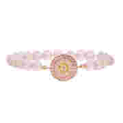 Beaded bracelet with pave disc of clear,  pink and yellow pave stones
