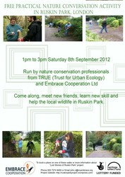 Practical nature conservation event in Ruskin Park