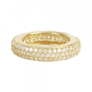 Gold plated stacking ring w/cubic zirconia stones