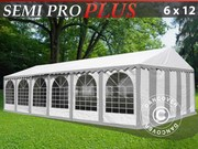 Marquee Semi PRO Plus 6x12 m PVC grey/white