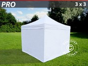 Folding canopy PRO 3x3 m Pack,  incl. 4 sidewalls,  white