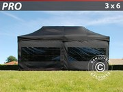 Folding canopy 3x6 Pro Pack,  incl. 6 sidewalls. Black