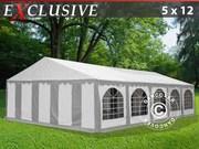 Marquee 5x12 m PVC grey/white