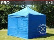 Folding canopy PRO 3x3 m Pack,  incl. 4 sidewalls,  blue