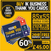 Buy 1000 & Get 1000 Business Thank You Cards Free Only £45.00 | Busine