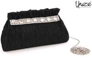 Womens Crystals 'Raven' Evening Party Clutch Bag