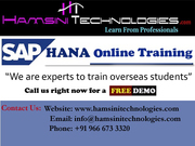 Best SAP HANA Online Training | SAP Modules Realtime Scenario Training