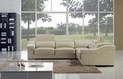 Cream Corner Leather Sofa Suite