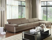 Grey Real Leather Corner Sofa Suite