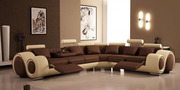 Brown and Cream Leather Corner Sofa