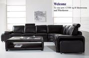 Excess Stock Black Real Leather Corner Sofa