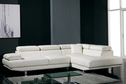 Corner White Leather Sofa Suite