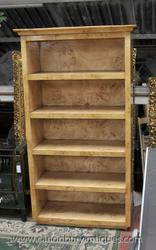 Art Deco Open Bookcase Blonde Walnut Shelf Bookcases