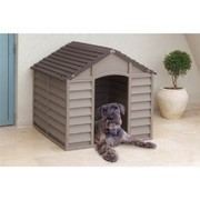 DURABLE PLASTIC OUTDOOR DOG HOME SHELTER KENNEL-MOCHA GREEN BEIGE