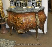 Pair Louis XV Inlay Chests of Drawers Bombe Commodes