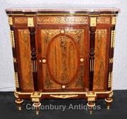 French Red Boulle Sideboard Cabinet Buhl Marquetry Server Louis XVI