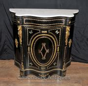 French Antique Black Lacquer Cabinet Credenza Marquetry Inlay Chest