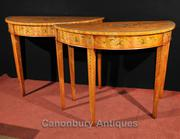 Pair Adams Console Tables Regency Demi Lune Painted Satinwood Furnitur