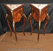 Pair French Empire Triangle Side Tables Cocktail Inlay Table