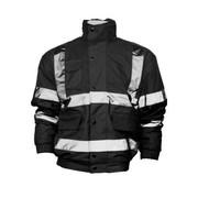 Buy High Vis Fleece Collar Black Bomber Jacket