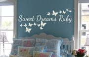 Sweet dreams personalised butterflies wall decal sticker