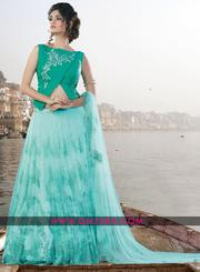 Appealing Green Waterleaf Net Jacquard Embroidered Lehengas