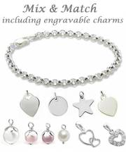 Mum Bracelet in Silver with engraved charms
