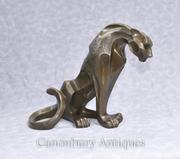 Art Deco Bronze Puma Cat Statue Feline Sculptures