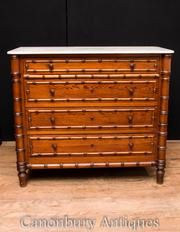 Antique French Regency Commode Chest Drawers Pine Faux Bamboo 1890