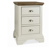 Bentley Designs Hampstead Soft Grey and Walnut 3 Drawer Night Stand
