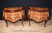 Pair Louis XVI Bombe Chests of Drawers Commodes Inlay Bedsides Nightst