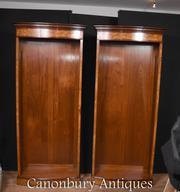 Pair Regency Open Bookcases in Walnut Open Front Bookcase