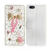 New Fancy Luxury Diamond Swarksi Tie 3d Book Case for iPhone 7