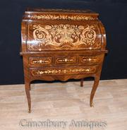 French Louis XV Roll Top Desk Bureau Writing Table Inlay Furniture