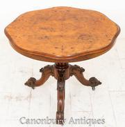 Burr Walnut Victorian Centre Table Dining 1860