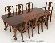 Victorian Dining Set Mahogany Tables and Chairs 1900
