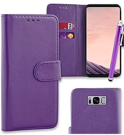 Purple Flip Wallet Case Cover For Samsung Galaxy S8