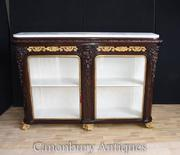 French Rosewood Carved Sideboard Display Cabinet