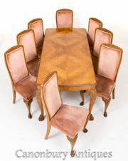 Walnut Queen Anne Dining Table and Chair Set Suite