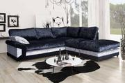 Get Beautiful Vargas Crushed Velvet Corner Sofa Formal Back