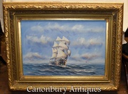 Oil Painting Ship Sea Scape Maritime Art