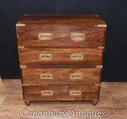 Antique Teak Military Campaign Chest Drawers Secretary Desk