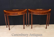 Pair Mahogany Console Tables Hepplewhite