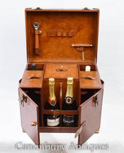 English Leather Hamper Wine Champagne Trunk Box Campaign Furniture