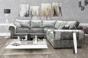 Stylish & Elegant Perla Crushed Velvet Fabric Formal Back Corner Sofa