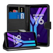 Black Advanced Leather Wallet Case Cover Pouch for Huawei Y6 2018