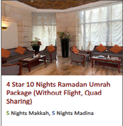 4 Star 10 Nights Ramadan Umrah Package (Without Flight,  Quad Sharing)
